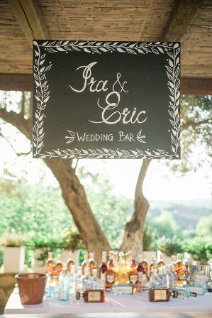 Wedding bar chalk board sign for dream wedding reception at traditional private estate in Crete. Moments www.weddingincrete.com