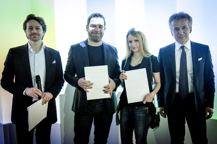 Ekaterina Shchetina and Libero Rutilo with Vittorio Pavarin (Cristlaplant Sales & Marketing Manager) and Luca Fallavena (CEO Falper Ltd.) — SuperStudio Più - via Tortona 27 Milano.
