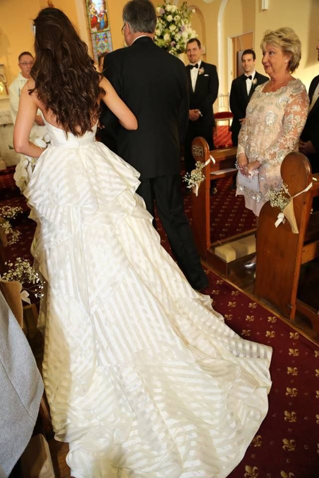 The back of my Hayley Paige Gown while walking down the aisle.