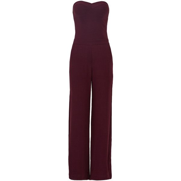 Rental Twelfth Street by Cynthia Vincent Mulberry Jumpsuit (98 BRL) ❤ liked on Polyvore featuring jumpsuits, jumpsuit, dresses, purple, jump suit, strapless jumpsuit, wide leg jumpsuit, purple jumpsuit and strapless wide leg jumpsuit