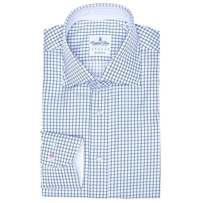 Shop now at ASHTON MARKS.The Emanuel Berg Slim Fit Blue shirt with Chelsea Cuff.Made from smooth fabric.Visit here http://www.ashtonmarks.com/Emanuel-Berg-Slim-Fit-Blue-Check-Shirt-p/01ebsc2212024.htm