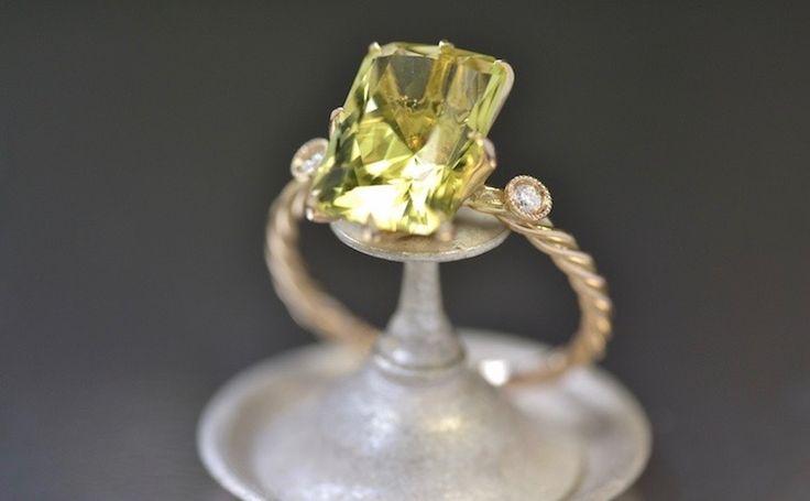 Yellow Quartz Diamond Ring