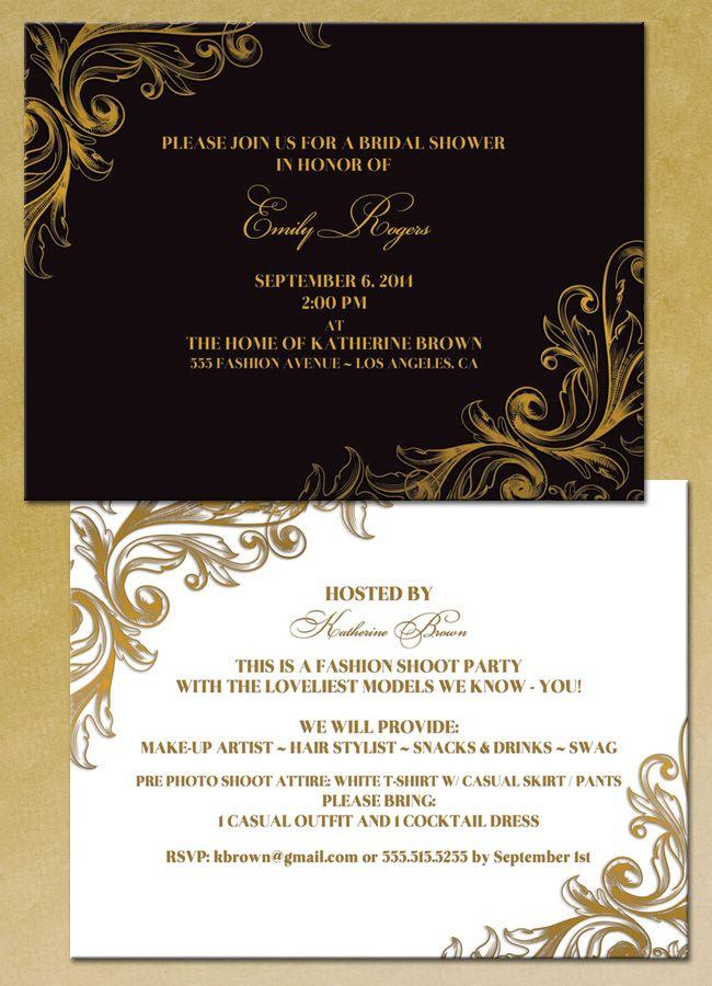 Bridal Shower Invitations Fashion Shoot Party