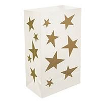 Plastic Luminaria Bags - 12 Count - White Star