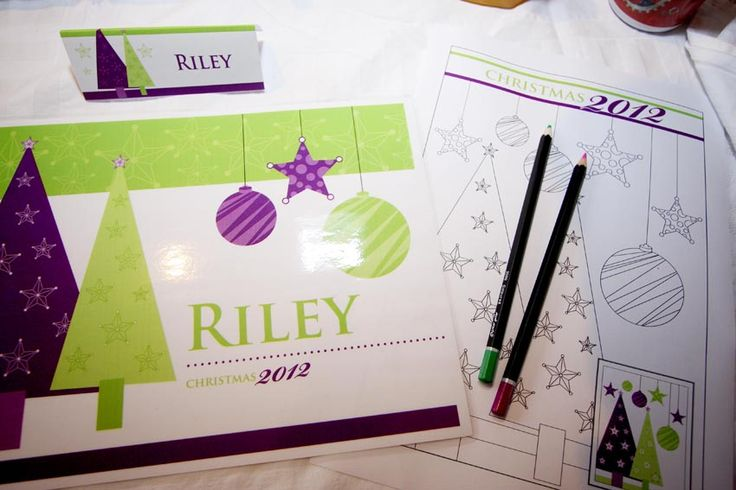 Placemat, name tag and coloring-in sheets