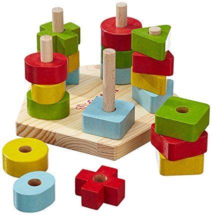 Eichhorn 100002087 - Steckplatte, 21-teilig, holz natur/bunt - 19x17,5x10,5 cm - 5 verschiedene Stecksymbole -: Amazon.de: Spielzeug