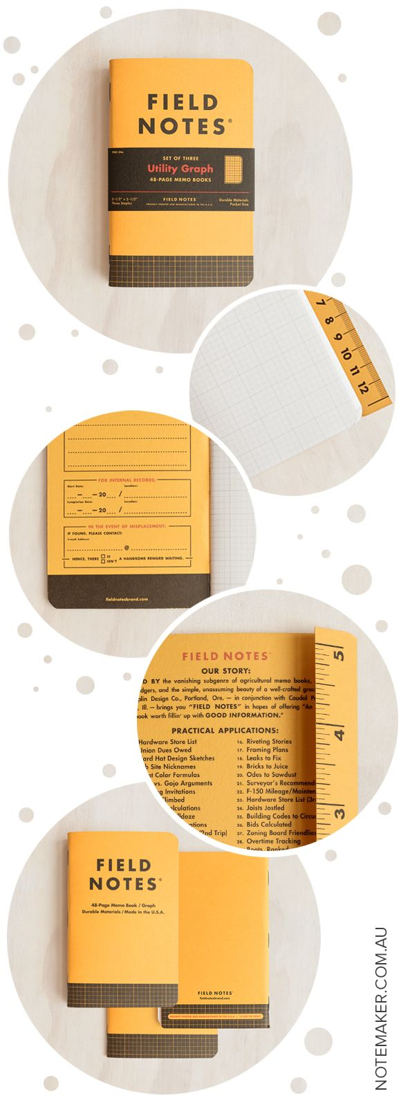 """Introducing Field Notes """"Utility"""" - a hard-working, high-visibility memo book that's ready for anything and comes in a set of three."""