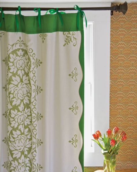 Whip up an elegant window covering from vintage textiles.