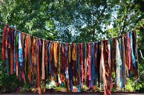 Bohemian Hippy Garland 5 1/2 Feet Long Ribbon length from 9 to 29 Photoraphy Backdrop, Birthday Party. Home Decor