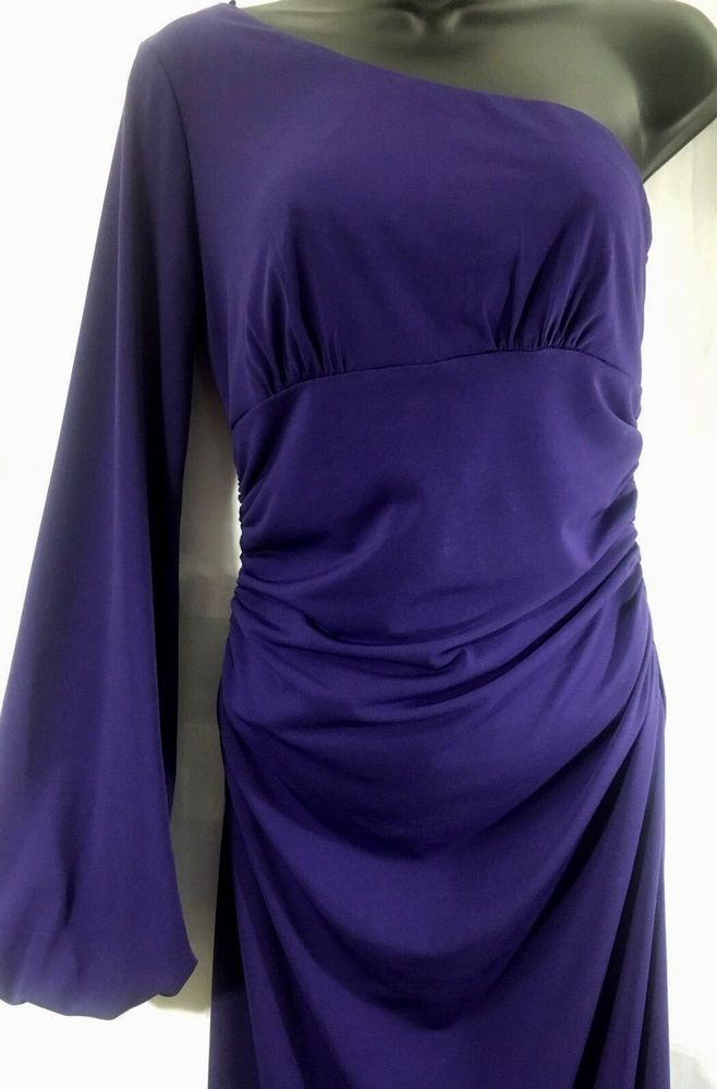 Womens Maggy London Dress 6 Purple One Shoulder Ruched waist Sexy Bishop sleeve #MaggyLondon #OneShoulder #Cocktail