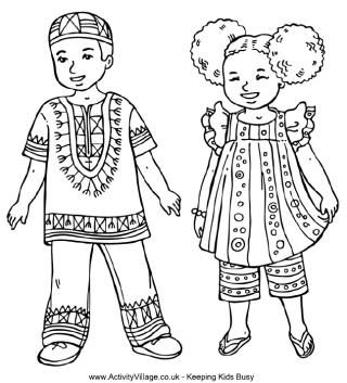Children from around the world colouring pages