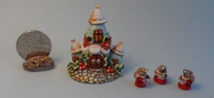 OOAK mouse church and three choir mice miniature Cottage Kitty #Cottagekitty333