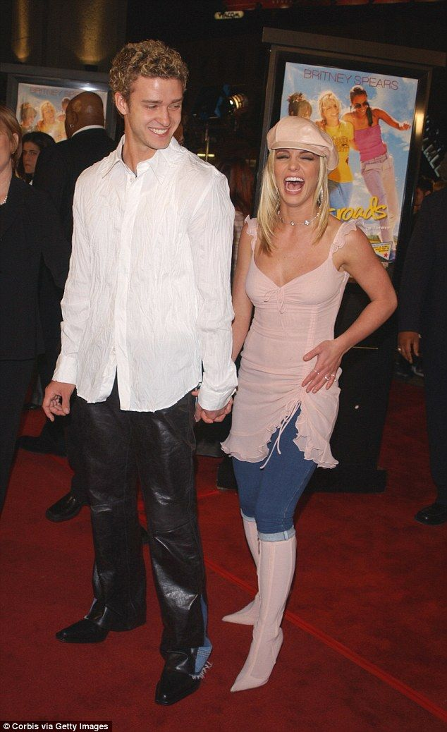 Old flames: 90's kids would have a treat to see the duo pair up for a musical number; here the former couple are pictured at the 2002 premiere of Crossroads