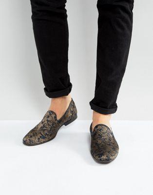 ASOS – Marineblaue Loafer mit Paisley-Muster