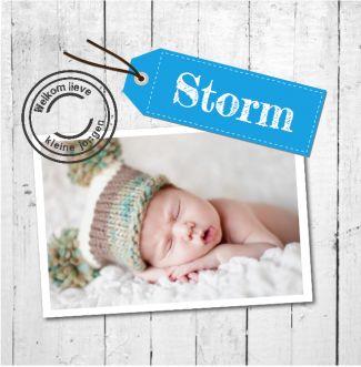 Geboortekaartje Storm   blijkaartje.nl Hout, foto, label, jongen