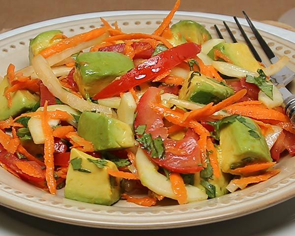 In Tanzania, some people serve this salad for breakfast. Cucumber and avocados can be served alongside smoked fish or shellfish, but people from the coast of Tanzania would add a salted fish, such as salted cod.