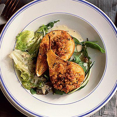 Pear & haggis salad with athol brose dressing