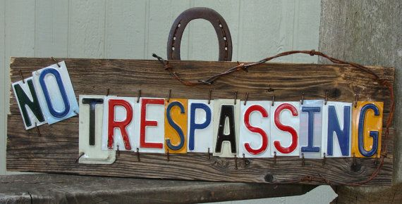 No Trespassing License Plate Barnwood Sign by dables on Etsy, $40.00