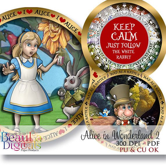 Cupcake Circles  Alice in Wonderland 2 Whimsy by Beauladigitals
