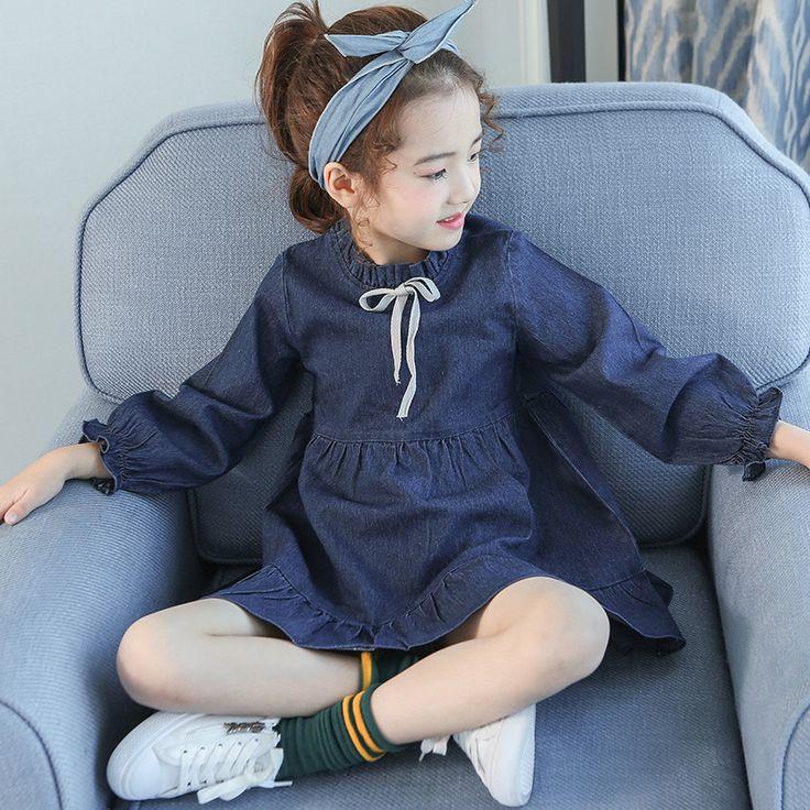 Denim Dress For Girls 4 5 6 7 8 9 10 11 12 13t Toddler Girl Clothing Kids School Uniform Long Sleeve Kids Casual Autumn Costume #Affiliate