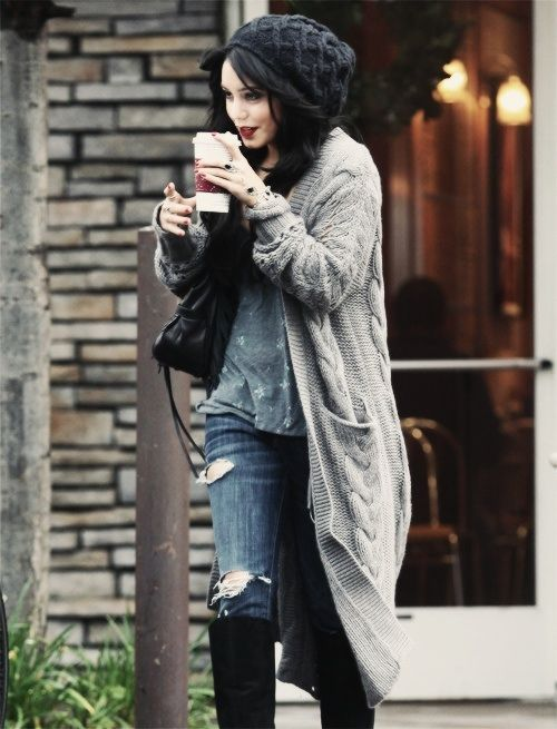 Vanessa Hudgens, lipstick, beanie, distressed jeans, long cardigan, grey