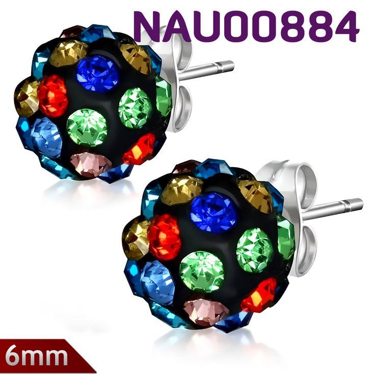 Náušnice NAU00884 s nádhernými barevnými krystaly. Náušnice pecky jsou vyrobené z chirurgické oceli 316l. http://www.piercingate.cz/nausnice-s-krystaly-nau00884
