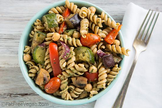 Warm Pasta Salad with Chickpeas, Roasted Vegetables, and Pesto Vinaigrette - #vegan