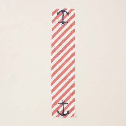 #Nautical Coral & White Stripes with Navy Anchors Scarf - #cute #gifts #cool #giftideas #custom