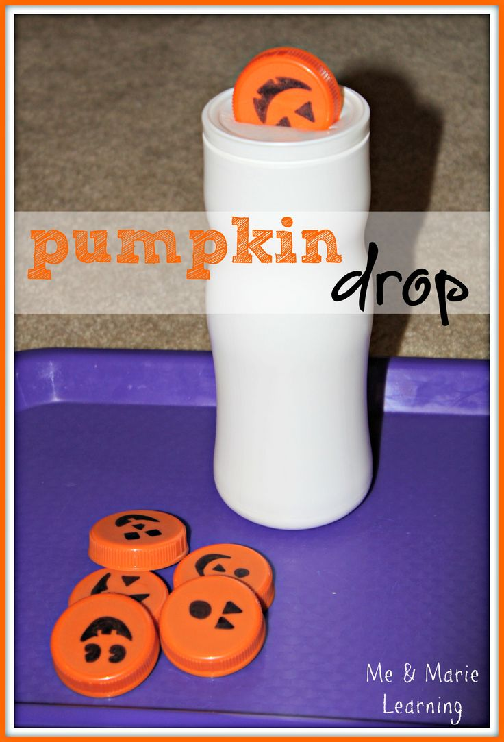 Orange toddler activities - Pumpkin Drop. A simple game made from a Puff's container and Gatorade lids. #Halloween #education (pinned by Super Simple Songs)