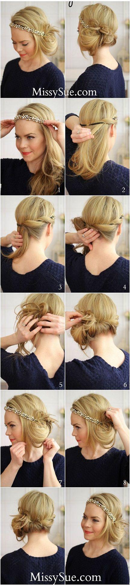 Tuto coiffure comment faire chignon années 20 style Gatsby le magnifique, se coiffer avec chignon bas et mèche de cheveux crantée cheveux courts et longs.