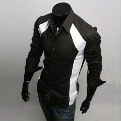 Sophisticated Long Sleeves Split Joint Black and White Cotton Shirt For Men