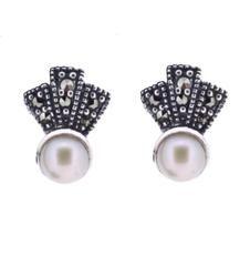 Freshwater Pearl Marcasite Earrings - Chicago Marcasite Jewellery