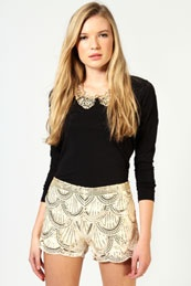 Geri Embellished and Sequin Beaded Shorts