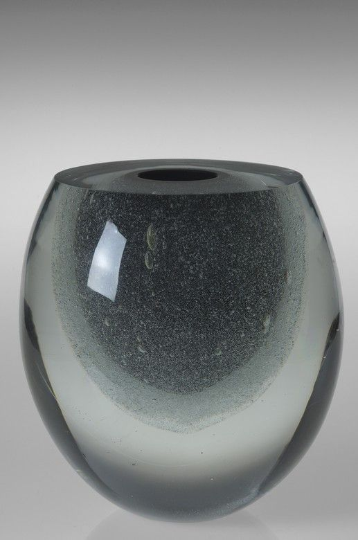 Timo SARPANEVA for littala, massive clear & black colored glass, internal air bubbles, 1984.