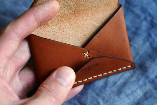 leather wallet - perfect for my business cards. Good practice for my leather lacing skills.