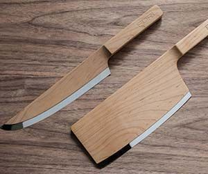 The wooden knives aren't your everyday cutlery set; they feature an elegant maple body that extends throughout most of the knife. The wood creates an understated look that blends in with its surroundings while highlighting the razor sharp stainless steel blade. Buy It Concept via TheFederal.co