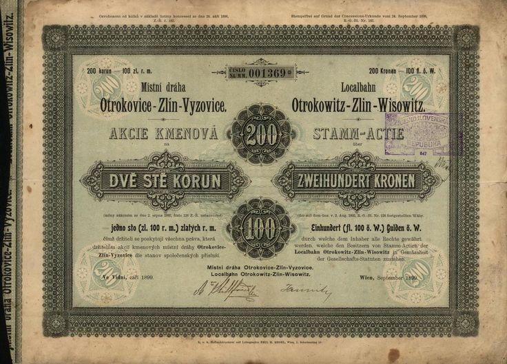 Místní dráha Otrokovice-Zlín-Vyzovice (Localbahn Otrokowitz-Zlin-Wisowitz). Kmenová akcie na 100 Zlatých nebo 200 Korun. Vídeň, 1899.