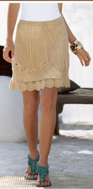 Crochetemoda: Saia de Crochet Bege