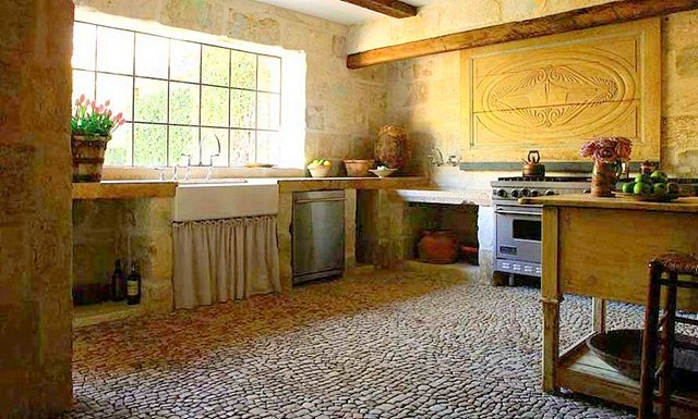 Old world kitchens old world and huge windows on pinterest for Pisos rusticos para interiores