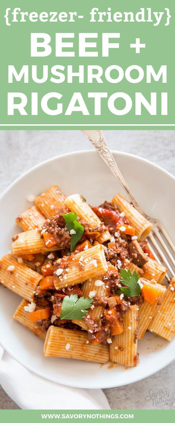 This Beef and Mushroom Rigatoni recipe makes a huge batch of from-scratch pasta sauce. Freeze it in portions and you always have some on hand on to drench your favorite Rigatoni in. This is one of our family's favorite easy weeknight meals, because I can