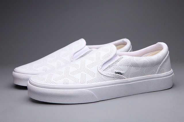 9f894b42f5a8 Pierced Vans Slip-On White Leather Loafers Off the Wall Skateboard   S5072302  -  39.99   Vans Shop