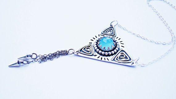 Blue Chalcedony Triangle Necklace Bohemian by SaruchiRJewellery