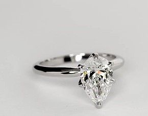 Classic Six-Prong Pear Solitaire Engagement Ring in Platinum