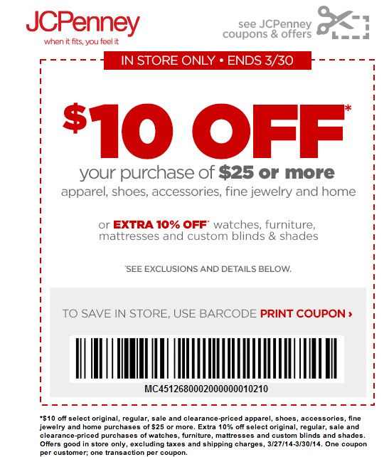 Jcpenny Printable 10 Off 25 In Coupon