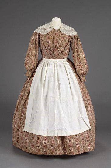 Calico work dress and apron - Civil War era | American ...