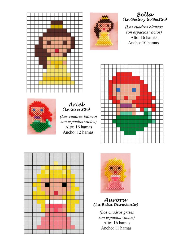 pixels Disney Princess (Aurora, Ariel, Belle) hama beads pattern
