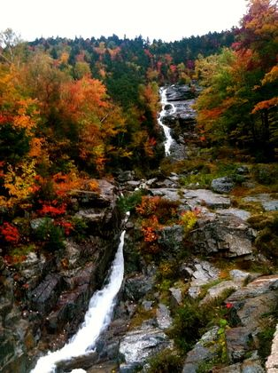 "White Mountain National Forest, New Hampshire.  Shades of red, orange, and yellow seem to encompass the very essence of ""fall foliage""."
