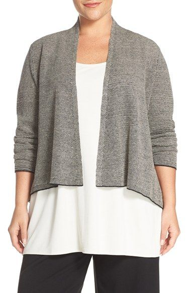 Eileen Fisher Organic Linen Open Front Cardigan (Plus Size)