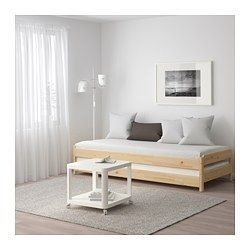 IKEA - UTÅKER, Stackable bed, , If you stack the beds on top of each other, they can be used as a sofa or a spare bed, but they quickly transform into a bed for two if you place them side by side.The stacked beds sit evenly since the upper bed has small plastic feet which fit into holes on the lower bed.