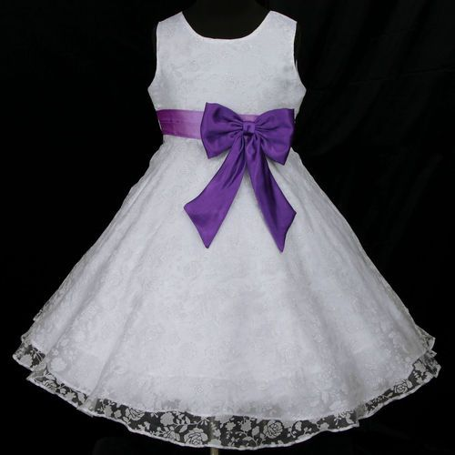 Light,Deep Purple White w942 Bridesmaid Wedding Party Flower Girls Dress 2,3-12y | eBay